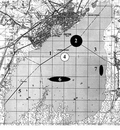 Карта озера со старыми руслами, углублениями и отмелью